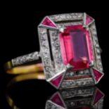 PINK TOURMALINE AND DIAMOND DRESS RING