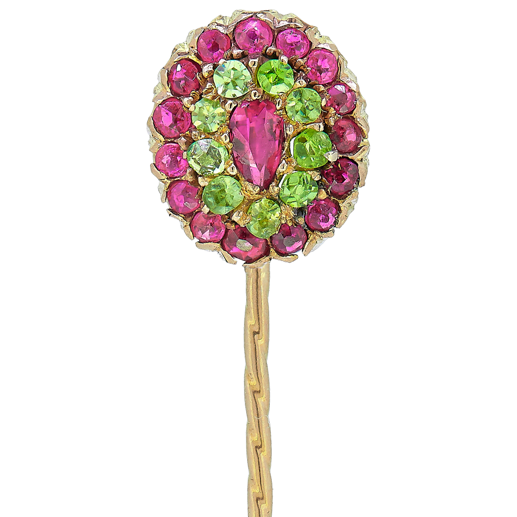 ANTIQUE VICTORIAN PERIDOT AND RUBY CLUSTER TIE PIN