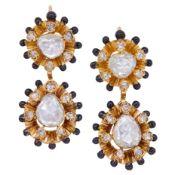 RARE PAIR OF ANTIQUE DIAMOND AND ENAMEL DROP EARRINGS