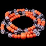 ART-DECO CORAL JET AND ROCK CRYSTAL NECKLACE