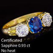 SAPPHIRE AND DIAMOND 3 -STONE RING