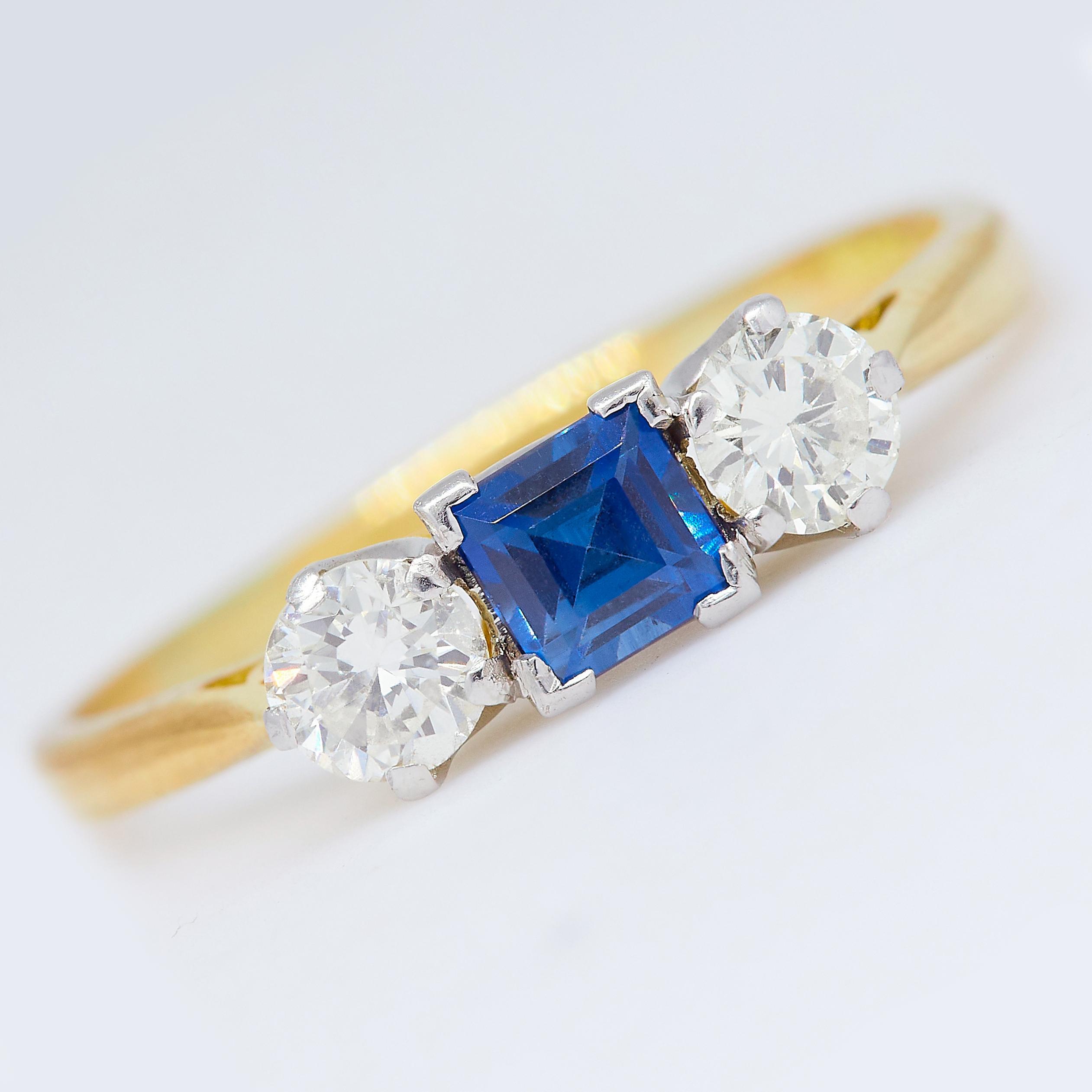 SAPPHIRE AND DIAMOND 3-STONE RING