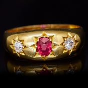 RUBY AND DIAMOND 3-STONE RING