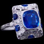 ART-DECO BURMA NO HEAT SAPPHIRE AND DIAMOND RING