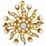 ANTIQUE VICTORIAN PEARL AND DIAMOND STAR BROOCH