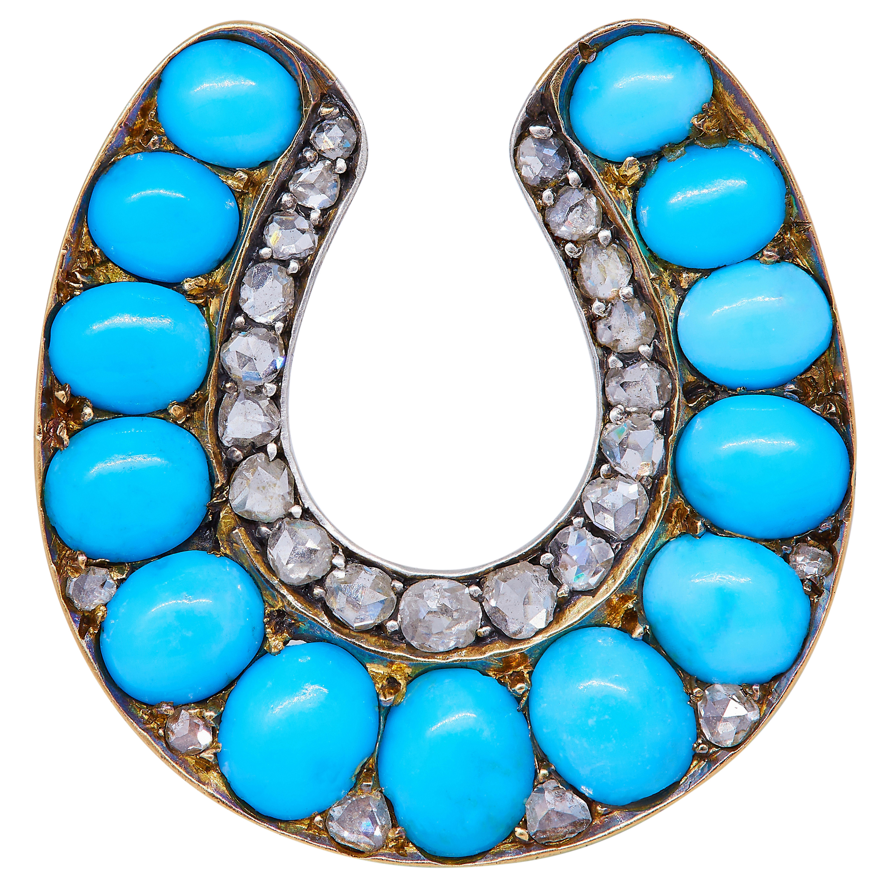 ANTIQUE VICTORIAN DIAMOND AND TURQUOISE HORSESHOE BROOCH