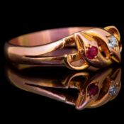 RUBY AND DIAMOND DOUBLE TWISTED SNAKE RING