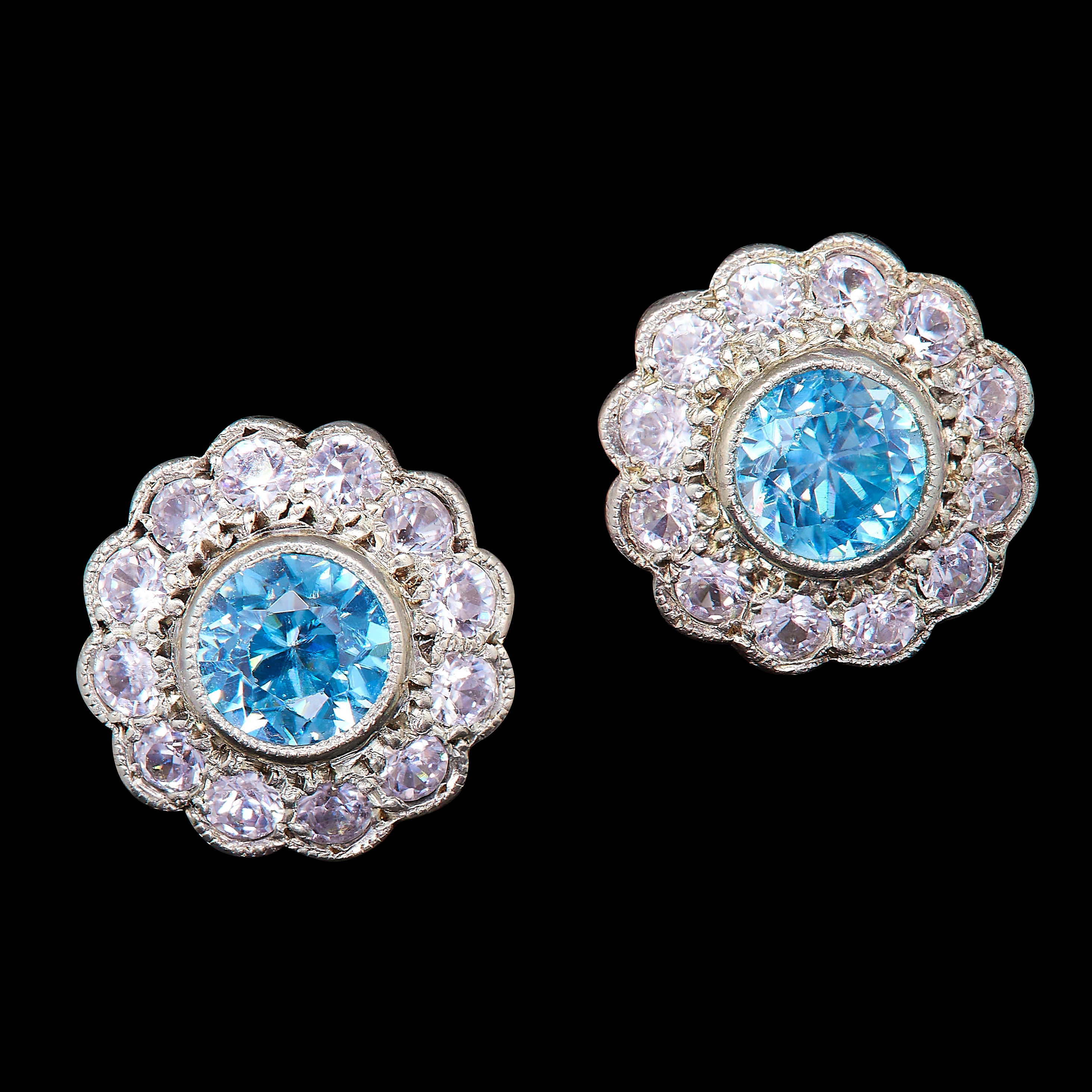 PAIR OF BLUE ZIRCON AND WHITE SAPPHIRE CLUSTER EARSTUDS
