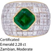 IMPORTANT CERTIFICATED 2.28 CT COLOMBIAN EMERALD AND DIAMOND DRESS RING