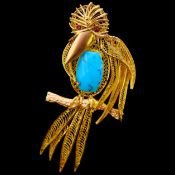 TURQUOISE AND RUBY BIRD BROOCH