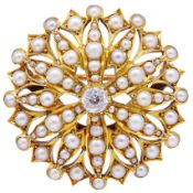 ANTIQUE VICTORIAN PEARL AND DIAMOND PENDANT BROOCH