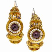 ANTIQUE PAIR OF GARNET AND PEARL POISSARDE EARRINGS