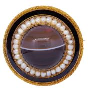 ANTIQUE VICTORIAN BANDED AGATE, PEARL AND ENAMEL BROOCH