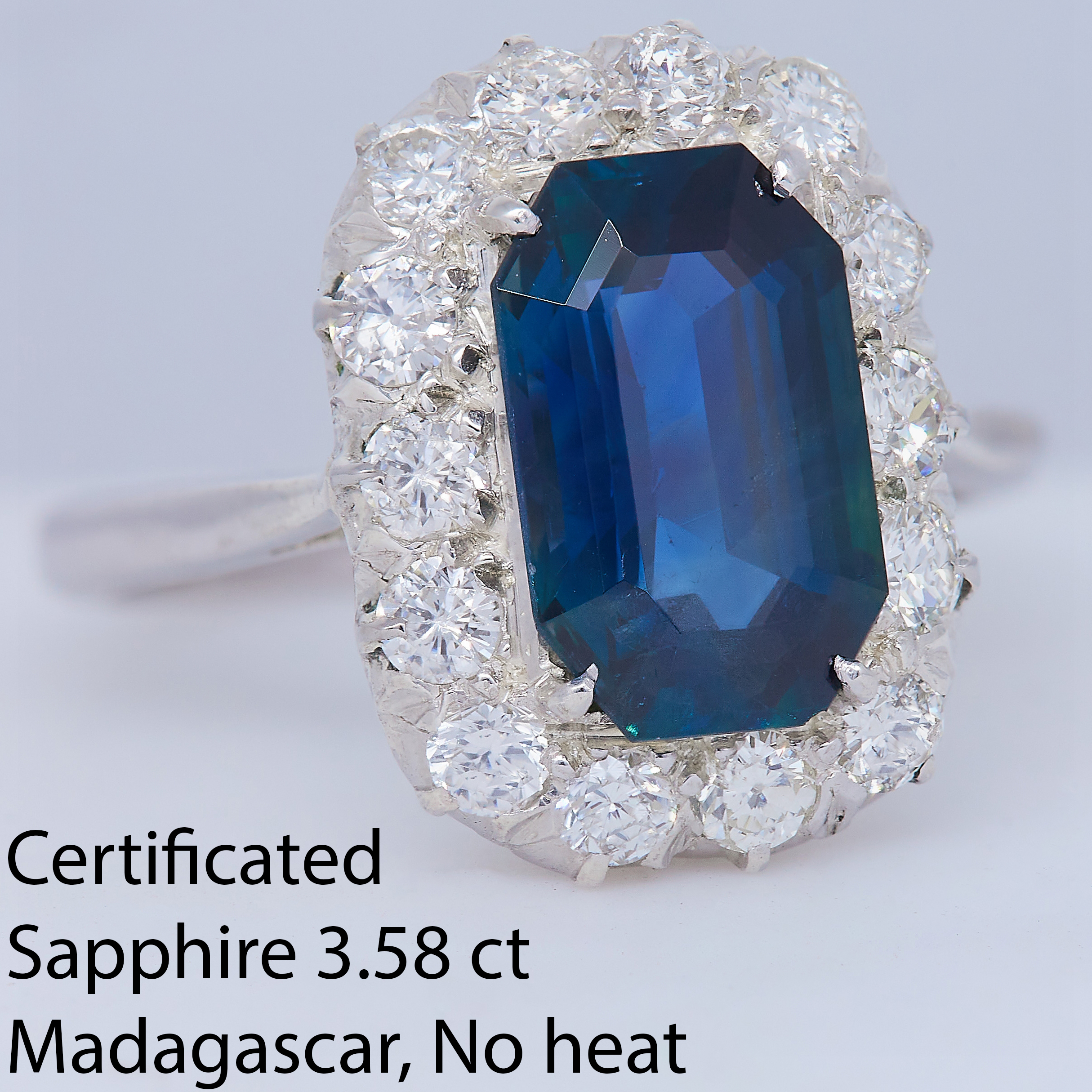 CERTIFICATED 3.58 CT. SAPPHIRE AND DIAMOND DRESS RING