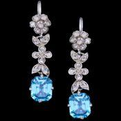 PAIR OF BLUE ZIRCON AND DIAMOND DROP EARRINGS