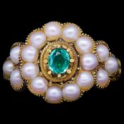 ANTIQUE VICTORIAN PEARL AND GREEN GARNET RING