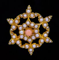 ANTIQUE VICTORIAN CORAL AND PEARL BROOCH