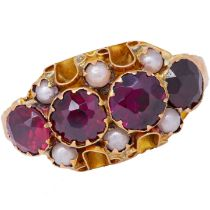 ANTIQUE PEARL AND GARNET RING
