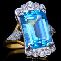 BLUE TOPAZ AND DIAMOND DRESS RING
