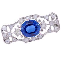 SYNTHETIC SAPPHIRE AND DIAMOND OPENWORK BROOCH