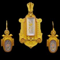 ANTIQUE VICTORIAN PENDANT AND EARING SET
