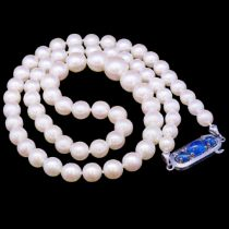 CULTURED PEARL AND SAPPHIRE NECKLACE