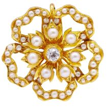 ANTIQUE VICTORIAN PEARL AND DIAMOND BROOCH