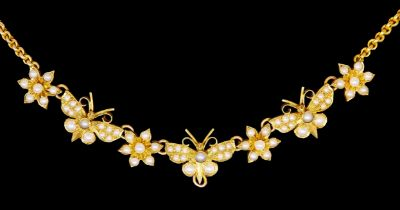 -NO RESERVE- ANTIQUE PEARL BUTTERFLY NECKLACE