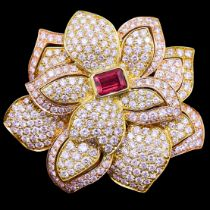 RUBY AND DIAMOND FLORAL BROOCH