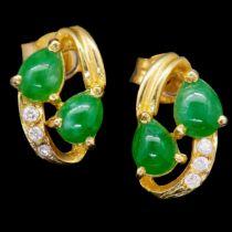 -NO RESERVE- PAIR OF JADE AND DIAMOND EARRINGS