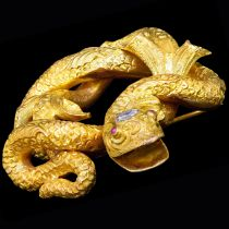 LARGE ANTIQUE DIAMOND AND SNAKE BROOCH