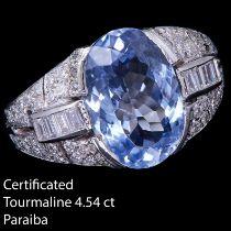 IMPORTANT CERTIFICATED PARAIBA TOURMALINE AND DIAMOND DRESS RING