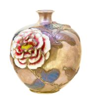 -NO RESERVE- JAPANESE SILVER VASE WITH ENAMEL AND RELIEF FLORAL DECORATION