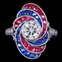 IMPRESSIVE DIAMOND, SAPPHIRE AND RUBY DRESS RING