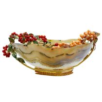MAGNIFICANT 18-ct GOLD, AGATE, ENAMEL AND CORAL CENTERPIECE