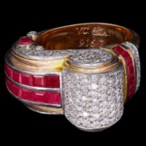 IMPRESSIVE RETRO RUBY AND DIAMOND COCKTAIL RING
