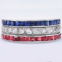RUBY SAPPHIRE AND DAIMOND DAY AND NIGHT RING