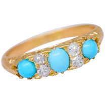 -NO RESERVE- TURQUOISE AND DIAMOND DRESS RING