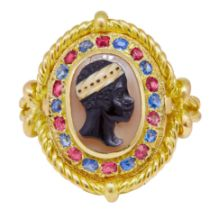 ANTIQUE SAPPHIRE AND RUBY BLACKAMOOR CAMEO RING