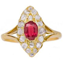 -NO RESERVE- ANTIQUE RUBY AND DIAMOND CLUSTER RING
