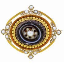 -NO RESERVE- ANTIQUE VICTORIAN PEARL DIAMOND AND BANDED AGATE BROOCH