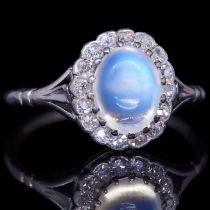 -NO RESERVE- MOONSTONE AND DIAMOND DRESS RING