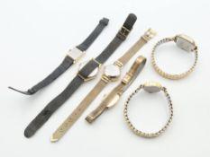 Armbanduhren 6 St., Zentra, Bifora, Anker u.a., tlw. Flexarmband, tlw. Stoffarmband u.a.,