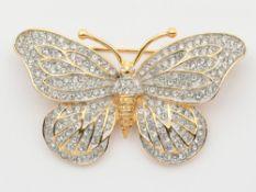 Airoldi - Brosche Si 925 vergold., Schmetterling, reich besetzt mit farblosen Schmucksteinen, ca.5,