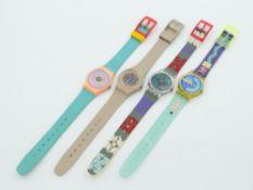 Swatch - Armbanduhren 4 St., Schweiz, versch. Ausführungen, Fkt. ungepr., im OK
