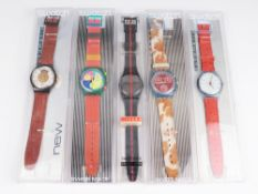 Swatch - Armbanduhren 5 St, Schweiz, versch. Ausführungen, 2x Automatic, fkt.tüchtig, 3x Fkt.