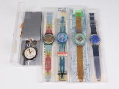 Swatch - Armbanduhren 4 St, Schweiz, versch. Ausführungen, Fkt. ungepr., im OK, dazu 1 Taschenuhr,