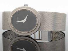 Chopard - DamenarmbanduhrWG 750, ovales Gehäuse, ca.2,6 x 2,2cm, schwarzes Zifferblat