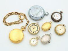 Konvolut 8 St., 6x Taschenuhren, tlw. Lepine-, tlw. Savonettegehäuse, Fossil, Selecta, u.a., sowie
