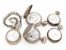 Taschenuhren 5 St., 2x Savonette-Gehäuse u. 3x Lepine-Gehäuse, 1x mit Uhrenkette, tlw. Si, tlw.